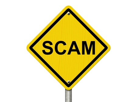 A road warning sign isolated on white with word Scam, Warning of Scam Stock Photo - 20555613