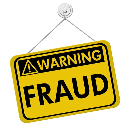 theft prevention: A yellow and black sign with the word Fraud isolated on a white background, Warning of Fraud Stock Photo