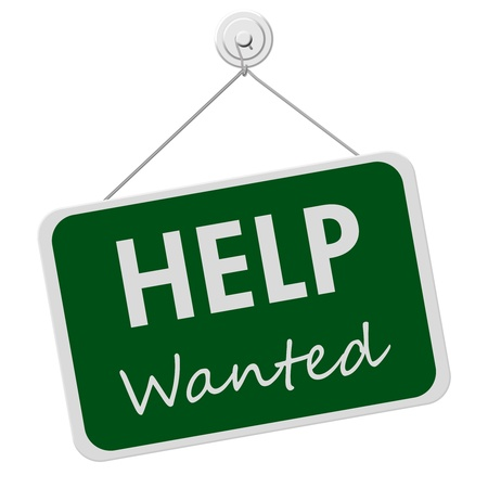 help: A green and white sign with the words Help Wanted isolated on a white background, Help Wanted Sign