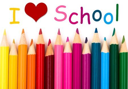 I Love School, Een potloodkleurpotlood grens geïsoleerd op een witte achtergrond met woorden I Love School Stockfoto
