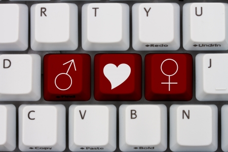 icons site search: Computer keyboard keys with symbols of man and woman and a heart, Internet Dating