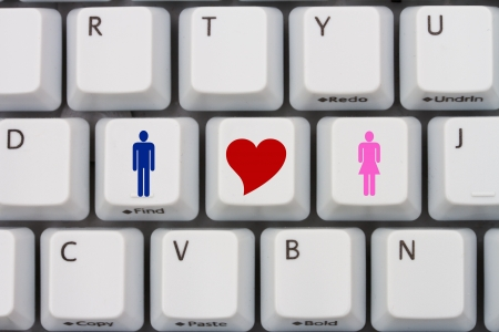 internet dating: Computer keyboard keys with symbols of man and woman and a heart, Internet Dating