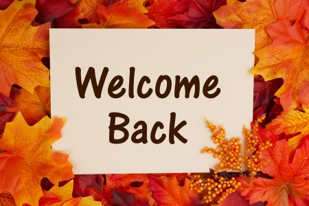 bienvenidos: Tarjeta de bienvenida Volver con hojas de oto�o, regresar a la escuela en el oto�o Foto de archivo