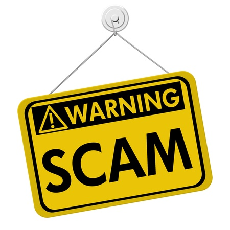 A yellow and black sign with the word Scam isolated on a white background, Warning of Scam Stock Photo