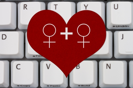 Computer Keyboard Keys With Symbols Of Man And Man On A Heart
