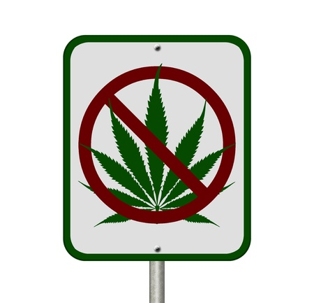 A road highway sign isolated on white with a marijuana leaf and not symbol , No Driving Under the Influence of  Marijuana Stock Photo