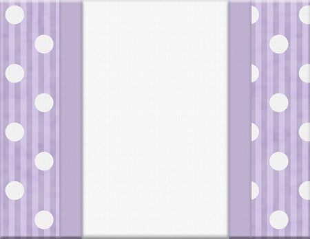 Purple Polka Dot and Striped Frame for your message or invitation with copy-space in the middle Stock Photo - 20747888