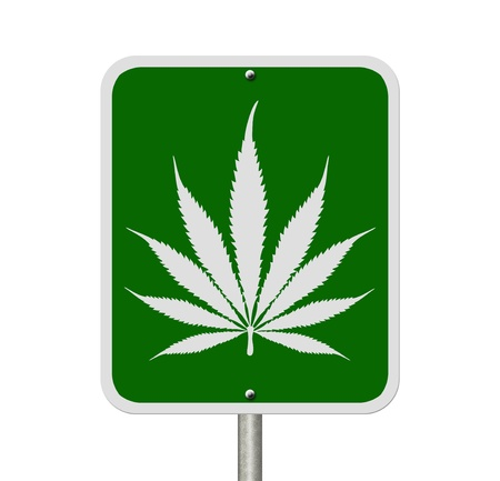 under the influence: A road highway sign isolated on white with a marijuana leaf, Driving Under the Influence of  Marijuana Stock Photo