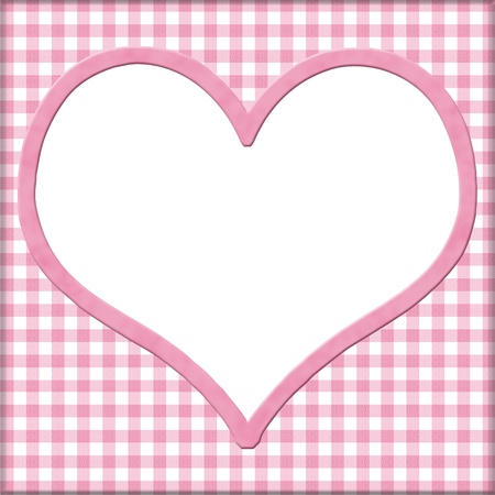Pink Gingham with white heart for your message background with copy-space in middle photo