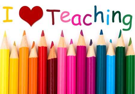 I Love Teaching , A pencil crayon border isolated on white background with words I Love Teaching Reklamní fotografie