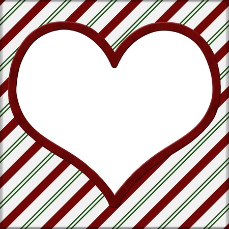 Red and Green Striped with white heart for your message background with copy-space in middle photo