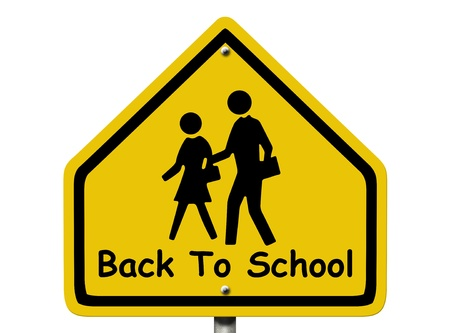 back roads: An American road warning sign isolated on white with people walking symbols and words Back to School, Back To School