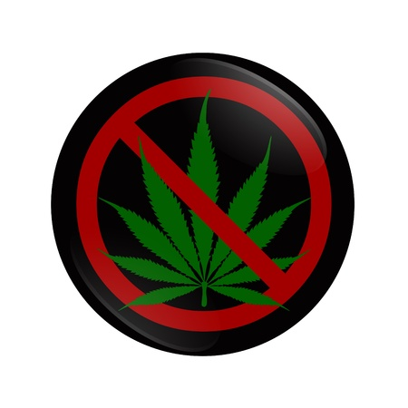 A white button with marijuana leaf and hand symbol isolated on white, Stopping using Marijuana