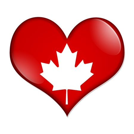 i love canada: A red  heart shaped button with a maple leaf isolated on a white background, I love Canada