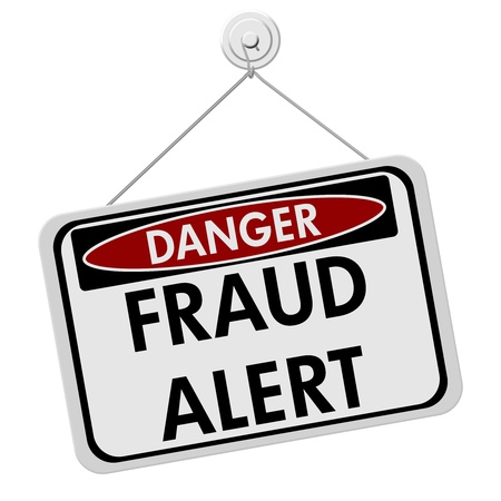 A red, white and black sign with the word Scam Alert isolated on a white background, Danger Fraud Alert 写真素材