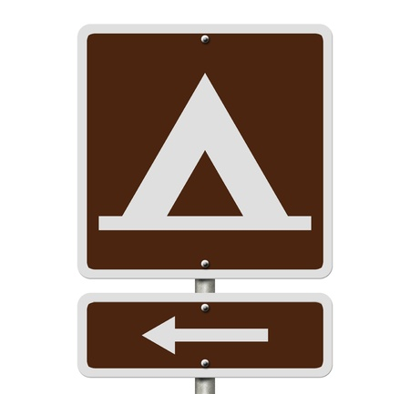 An American road sign isolated on white with a symbol of a tent and an arrow, Going camping photo