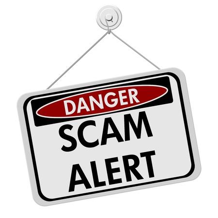 흰색 배경에, 위험 사기 경고를 격리하는 단어 사기 경고와 빨간색, 흰색 및 검정 기호 스톡 콘텐츠