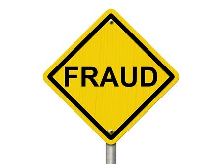 theft prevention: A road warning sign isolated on white with word Fraud, Warning of Fraud Stock Photo