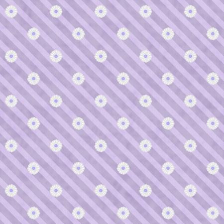 Purple Striped Fabric with texture and Flowers Background that is seamless and repeats Imagens