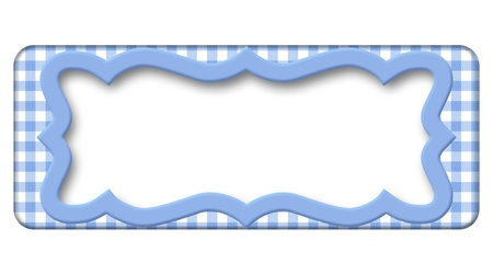Pale Blue Gingham Frame for your message with copy-space in middle Stock Photo - 21585231