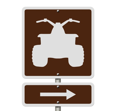 atv: An American road sign isolated on white with a symbol of an ATV, Places to ride ATV