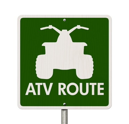 atv: An American road sign isolated on white with a symbol of an ATV and words ATV Route, Places to ride ATV Stock Photo