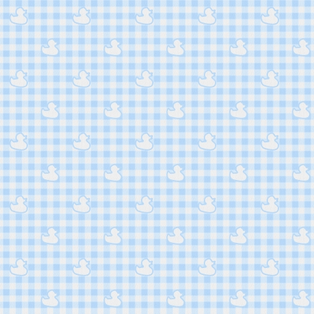 A light blue gingham fabric with ducks background that is seamless photo