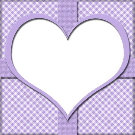 Purple Gingham with Heart Center and Ribbon Background for your message or invitation with copy-space in the middle Stock Photo - 21588496