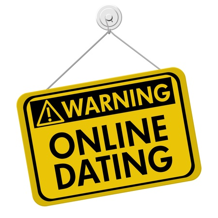 A yellow and black sign with the words Online Dating isolated on a white background, Warning about Online Dating Stock Photo - 21588498