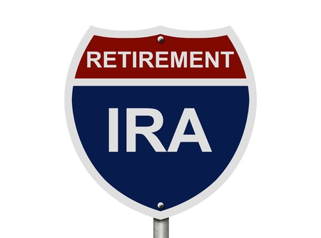 An American road interstate sign with words Retirement and IRA isolated on white, Your 40k1 Retirement Fund photo