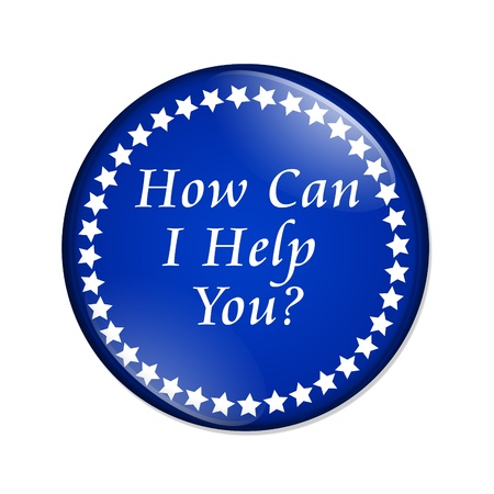 help: A blue  button with words How Can I Help You isolated on a white background, How Can I Help You button Stock Photo
