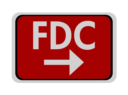 A red, white and black sign with word FDC and arrow isolated on a white background, FDC this way Stock Photo