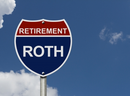 An American road interstate sign with words Retirement and Roth with sky, Your Roth Retirement Fund Stock Photo