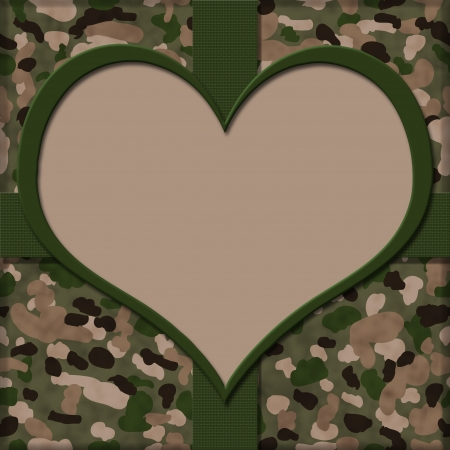 Camouflage Background with Ribbon and Heart Center for copy-space, I Heart Service People Background photo