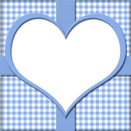 Blue Gingham with Heart Center and Ribbon Background for your message or invitation with copy-space in the middle Stock Photo - 21930616