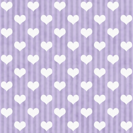 Purple and White Hearts and Stripes Fabric Background that is seamless and repeats