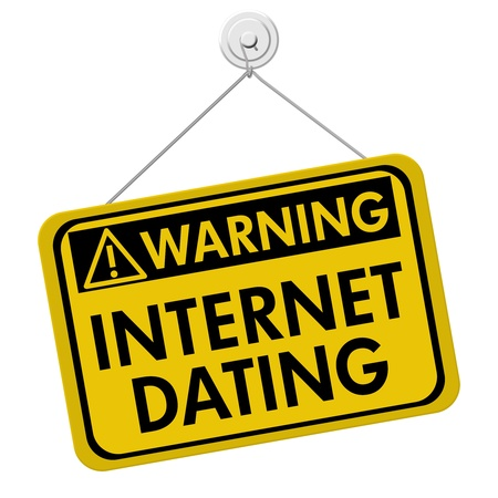 A yellow and black sign with the words Internet Dating isolated on a white background, Warning about Internet Dating Stock Photo - 21930620