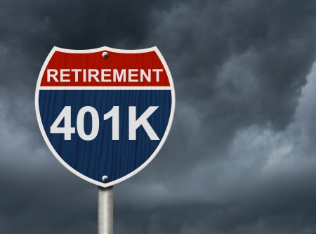 An American road interstate sign with words Retirement and 401k with stormy sky, Your 40k1 Retirement Fund photo