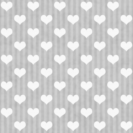 Gray and White Hearts and Stripes Fabric Background that is seamless and repeats photo