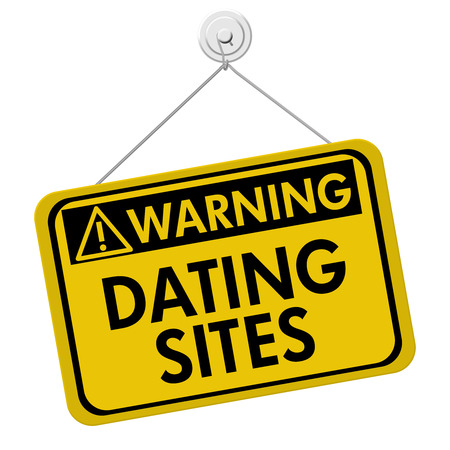 A yellow and black sign with the words Dating Sites isolated on a white background, Warning about Dating Sites Stock Photo - 22520123