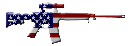 assault rifle: A rifle in the USA flag colors, Rifle weapon in the USA