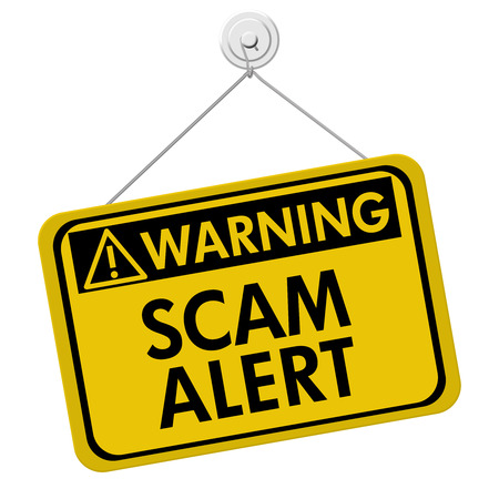 A yellow and black sign with the words Scam Alert isolated on a white background, Warning of Scam Alert 写真素材