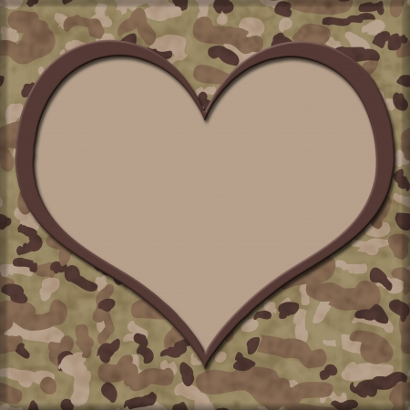 Camouflage Background with Heart Center for copy-space photo