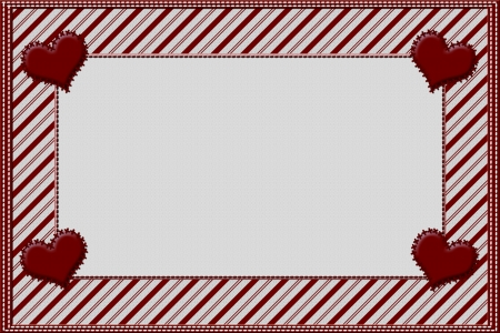 Candy Cane Striped Christmas Background with Hearts and center for copy-space, Christmas Time
