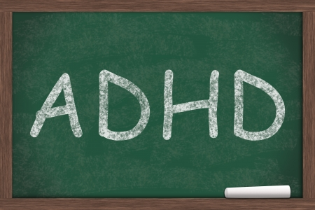 hyper: ADHD written on a chalkboard, Learning and having ADHD