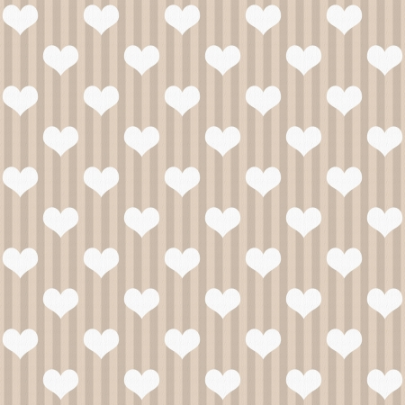 ecru: Ecru and White Hearts and Stripes Fabric Background that is seamless and repeats