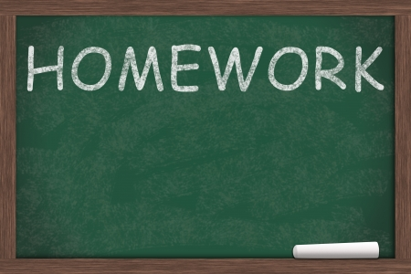 learning by doing: Homework written on a chalkboard, Learning and doing homework