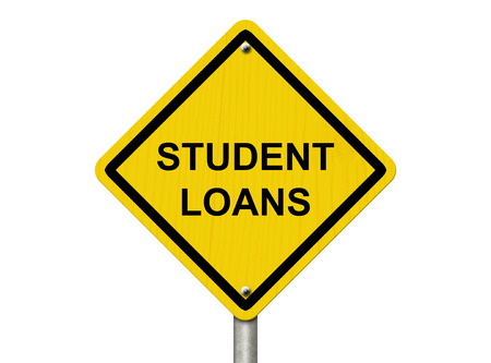overwhite: A road warning sign isolated on white with word Student Loans, Warning of having Student Loans Stock Photo