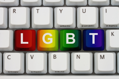 inform information: Computer keyboard keys with word LGBT, Finding information on internet about LGBT Stock Photo