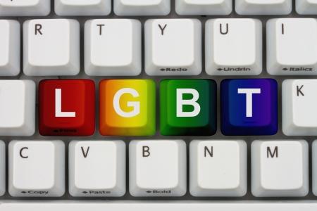 transexual: Teclas del teclado de ordenador con palabra LGBT, B�squeda de informaci�n en Internet sobre LGBT